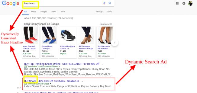 voorbeeld dynamische zoekadvertentie in google SERP
