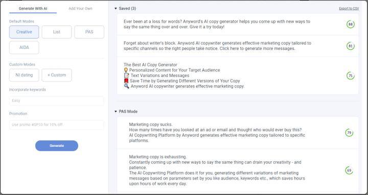 de Anyword-tool voor kunstmatige intelligentie voor marketingkopie