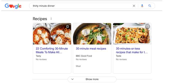receptresultaten voor google zoeken