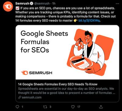 Semrush voorbeeld van goede content distributie op social media
