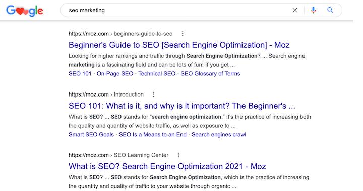Moz-inhoud op de eerste pagina van Google