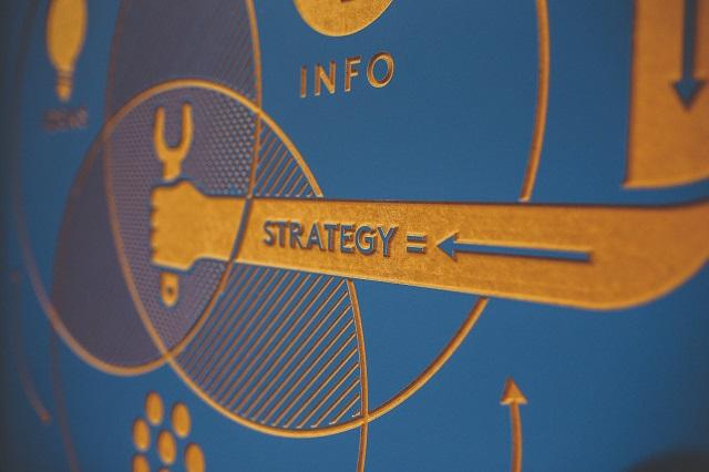 Gesneden bord met gestileerde strategie Venn-diagram