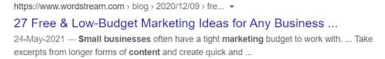 voorbeeld van een metatitel die van invloed is op de SEO-klikfrequentie