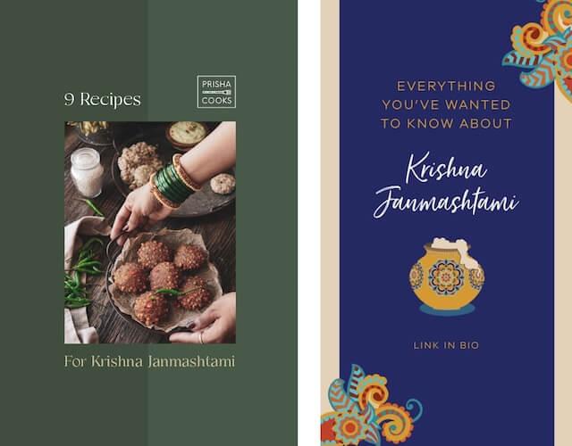 GoDaddy Studio-sjabloon met informatie over Krishna Janmashtami