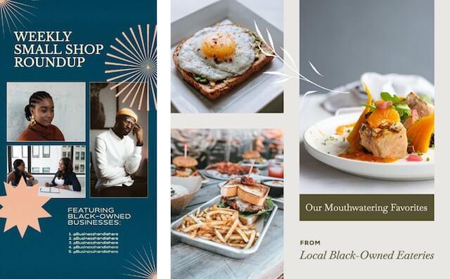 GoDaddy Studio-sjabloon kleine winkelverzameling van lokale eetgelegenheden in zwarte handen