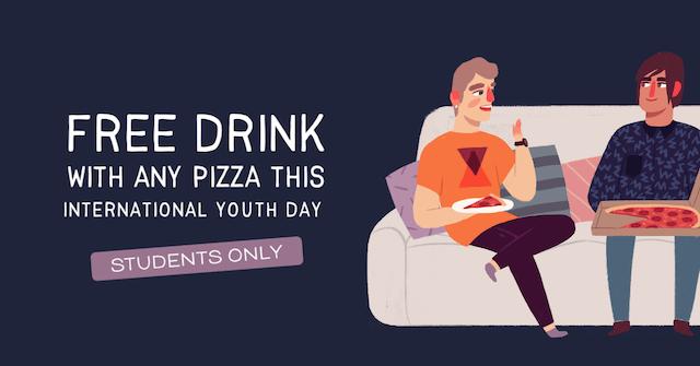 GoDaddy Studio-sjabloon voor internationale jongerendagadvertentie voor gratis drankje bij pizza