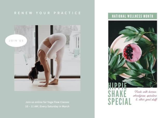 GoDaddy Studio-sjabloonadvertenties voor de nationale wellnessmaand