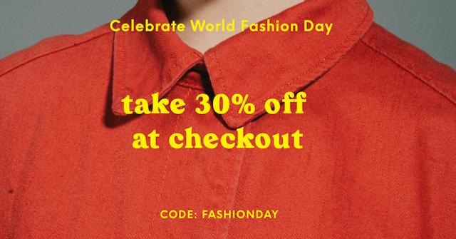 GoDaddy Studio-sjabloon krijgt 30% korting bij het afrekenen voor World Fashion Day