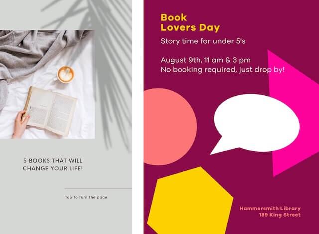GoDaddy Studio-sjablonen voor Dag van Boekliefhebbers