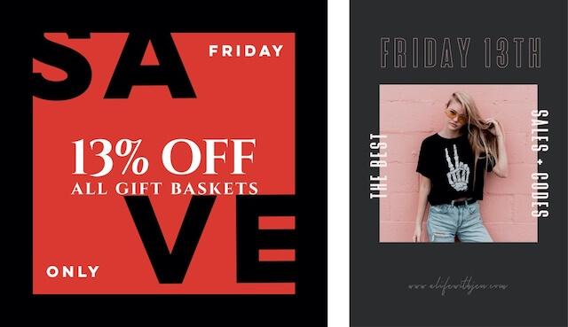 GoDaddy Studio-sjabloon voor Friday the 13th-verkoop