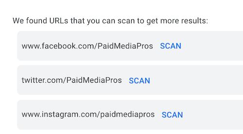 Google Ads-beeldextensies: functie voor het scannen van URL's