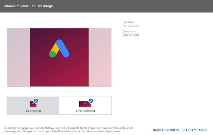 Google Ads-beeldextensie instellen: venster voor beeldselectie