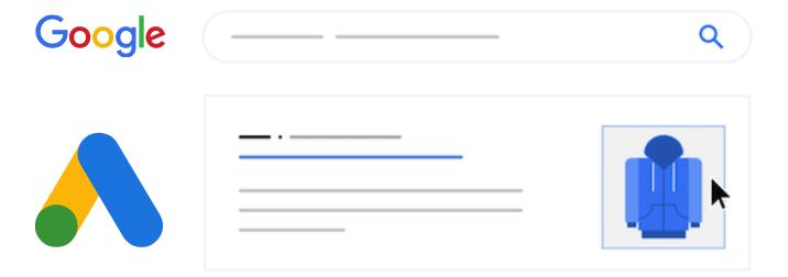 google ads logo en afbeeldingsextensie mockup