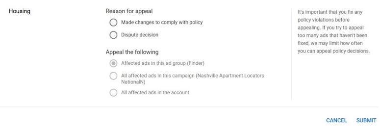 Google Ads-bezwaarformulier voor afkeuring