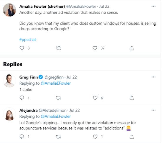 grappige tweets over Google Ads Three Strikes Policy Program