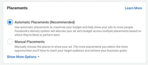 automatische plaatsingsinstelling in Facebook-advertenties