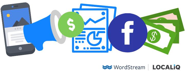 facebook-logo met dollarbiljetten en reclamerapport