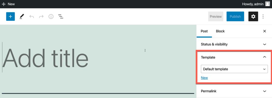Screenshot: WordPress-berichteditor met een sjablooneditor die in de rechterzijbalk wordt weergegeven