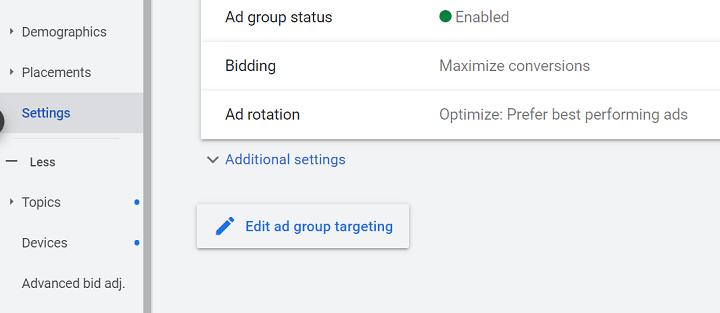 schakelknop voor geoptimaliseerde targeting voor Google-advertenties