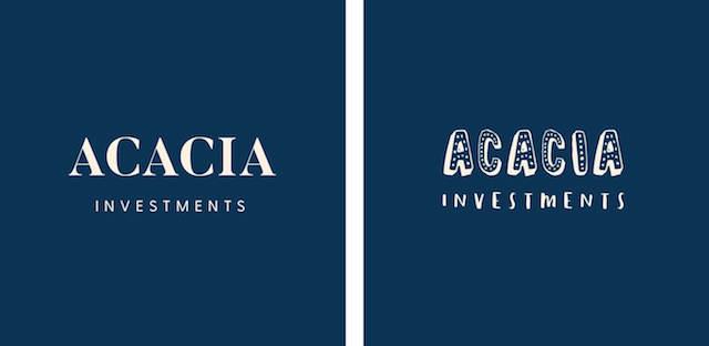 Acacia in twee verschillende lettertypen op marineblauwe achtergrond