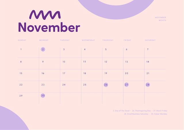 Kalender van november