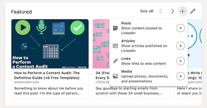 screenshot van het toevoegen van uitgelichte berichten van linkedin