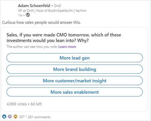 voorbeeld van een opiniepeiling op een linkedin-bedrijfspagina