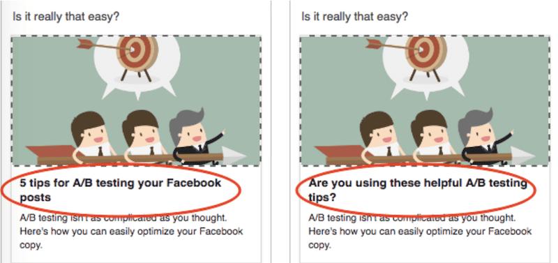 facebook a/b testvoorbeeld met koppen
