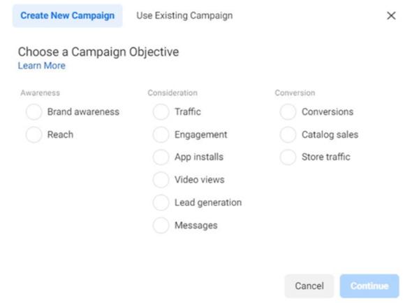 doelstellingen van Facebook-campagne