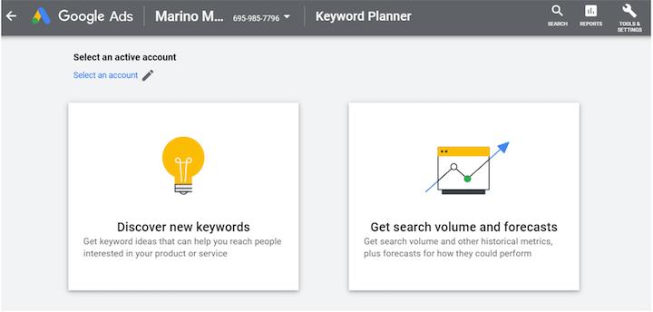 Google Ads-zoekwoordplanner