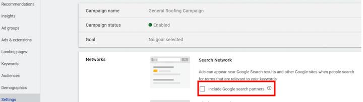 Google Ads-campagne instellen met optie om Google-zoekpartners op te nemen