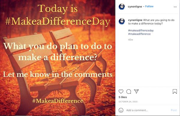 september instagram post met hashtag #makeadiffferenceday
