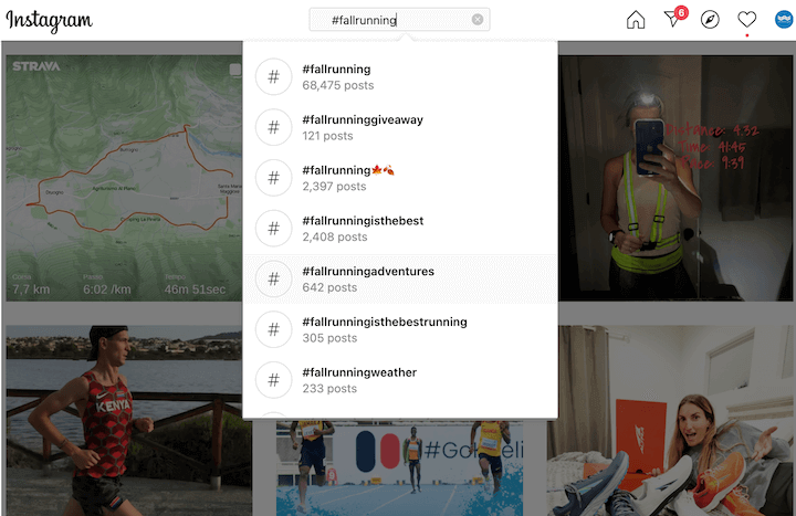 voorbeeld van hashtag zoeken op instagram voor #fallrunning