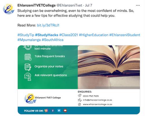 twitterbericht met hashtag #studyhacks