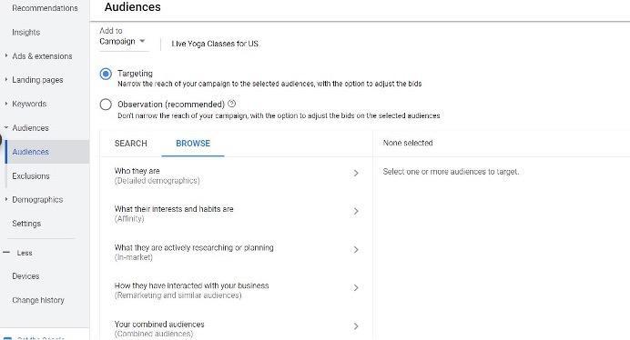 tabblad doelgroepen van Google-advertenties, gebruikt om doelgroepen in te delen op zoekwoordtargeting voor breed zoeken