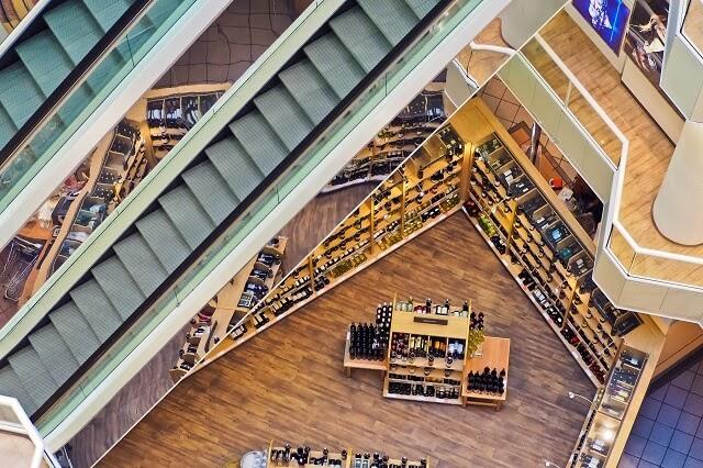 Luchtfoto van winkelcentrum