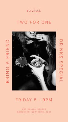 Speciale poster voor twee voor één drankje gemaakt in GoDaddy Studio