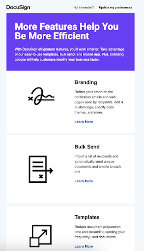 docusign b2b e-mailmarketing voorbeeld