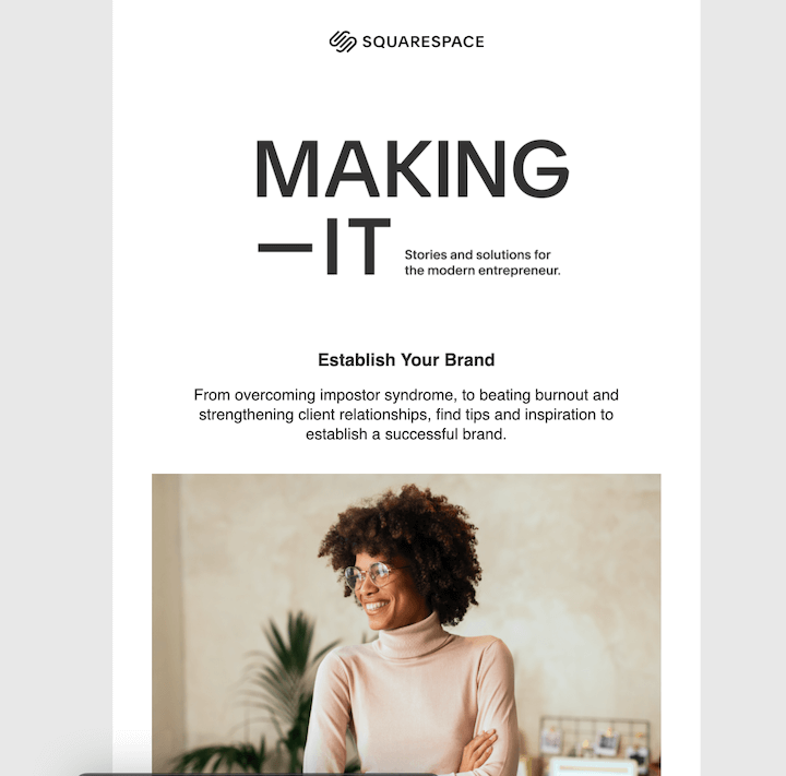 squarespace b2b e-mailmarketing voorbeeld