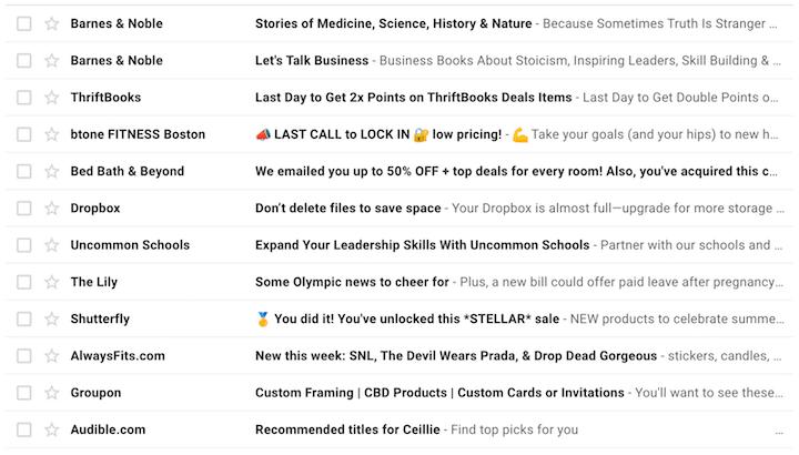 b2b e-mailmarketing - screenshot van de inbox met ruis