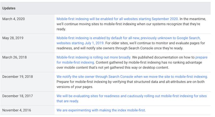 google-algoritme-updates 2021- mobile-first indexeringstijdlijn