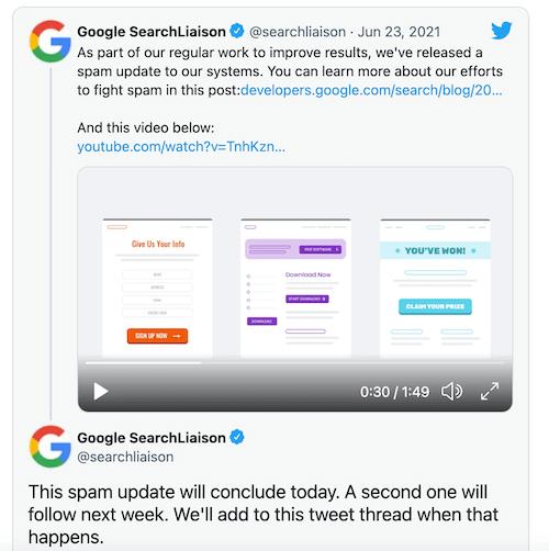 google-algoritme-updates 2021 - tweet over spam-update