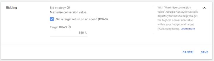 doel-ROAS-optie in Google-advertenties