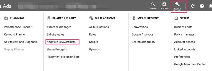 tabblad lijst met uitsluitingszoekwoorden in het Google Ads-dashboard