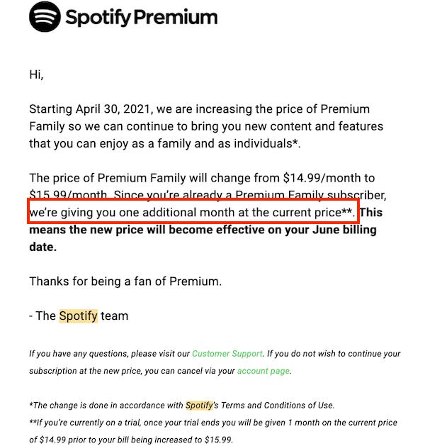 spotify prijsverhoging e-mail naar premium lid