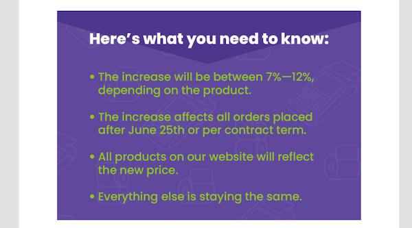 voorbeeld van e-mail prijsverhogingsbrief met opsommingstekens