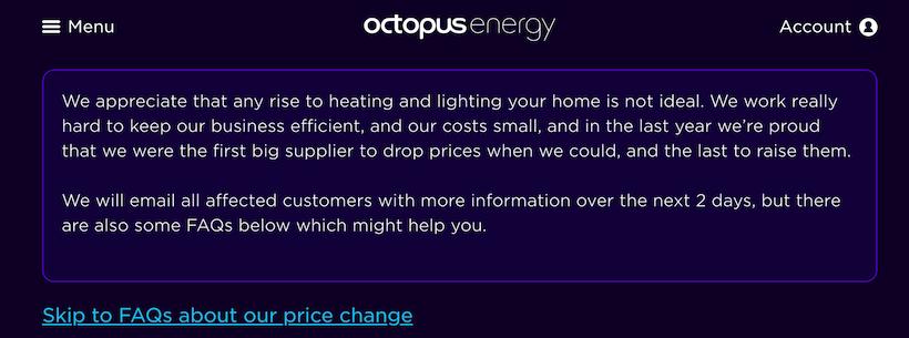 voorbeeld prijsverhoging aankondiging met FAQ