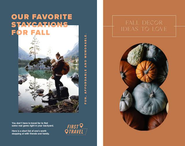 GoDaddy Studio-templates met herfstkleuren