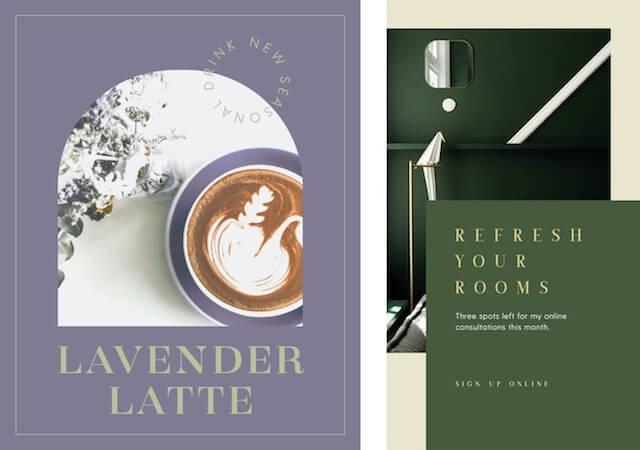 GoDaddy Studio-sjablonen voor lavendel lattes en lentekleuren