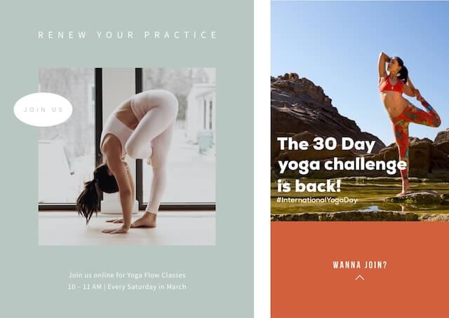 Sociale advertenties voor Yoga Month met GoDaddy Studio